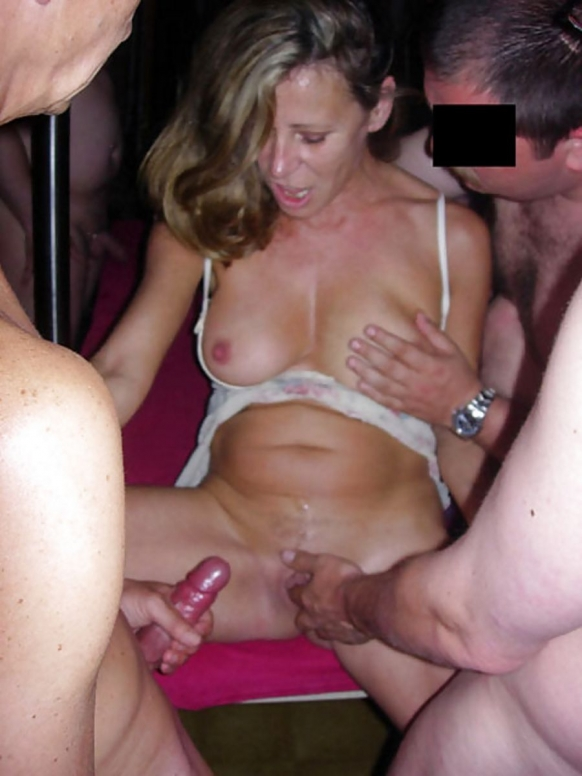 Amateur interracial gangbang with hot girlfriend 10